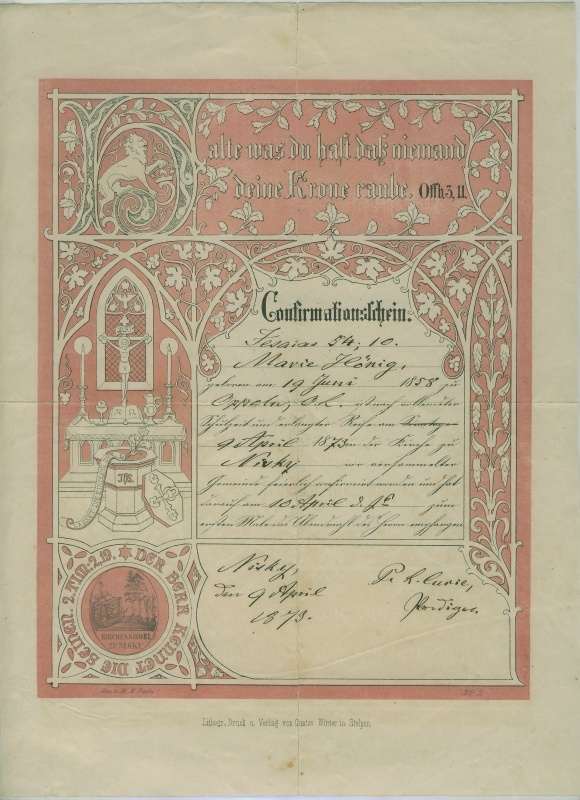 Confirmationsschein 1873 (Museum Niesky CC BY-NC-ND)