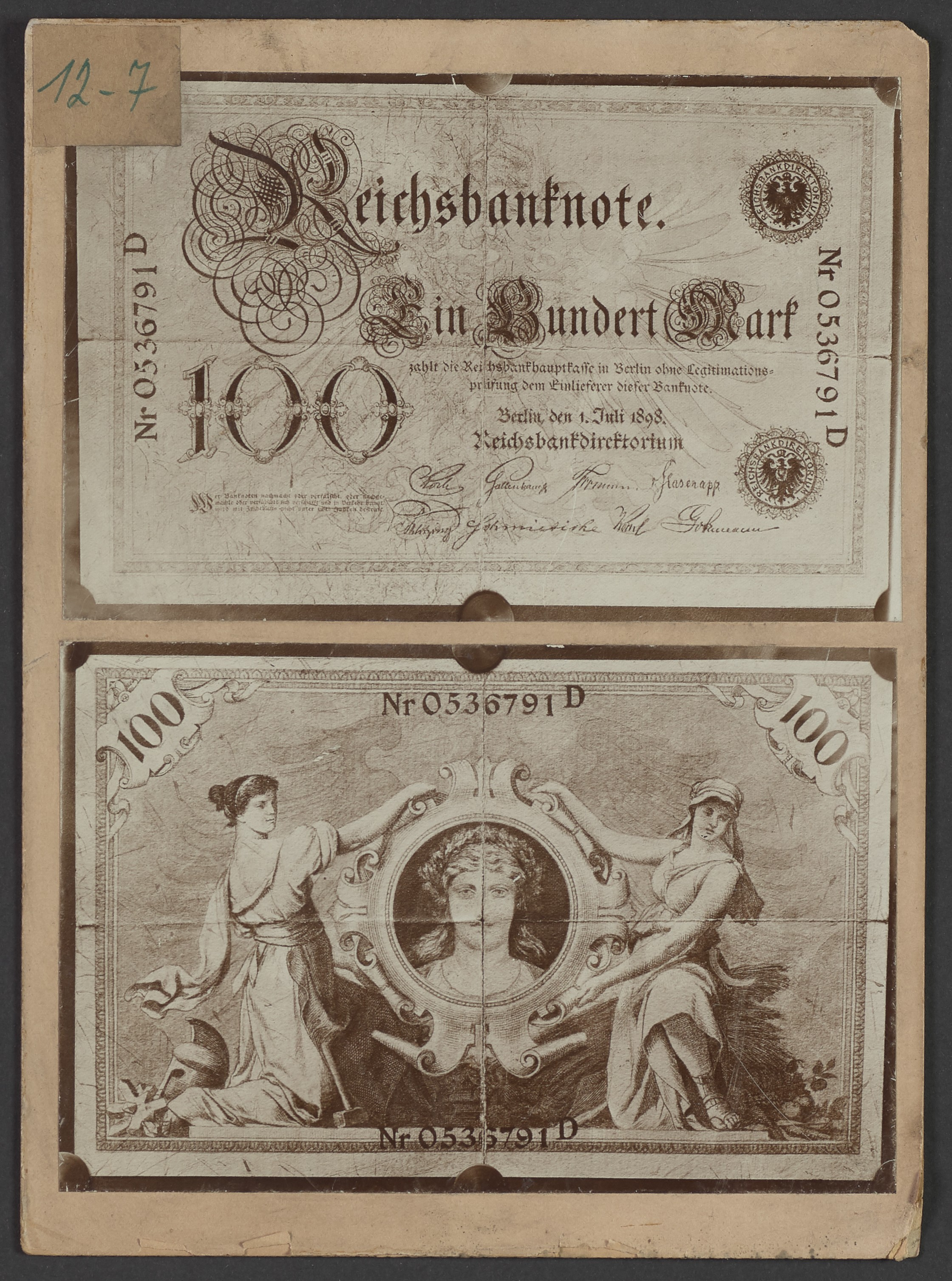 """Reichsbanknote 100 Mark von 1898"" (Polizeidirektion Dresden RR-F)"